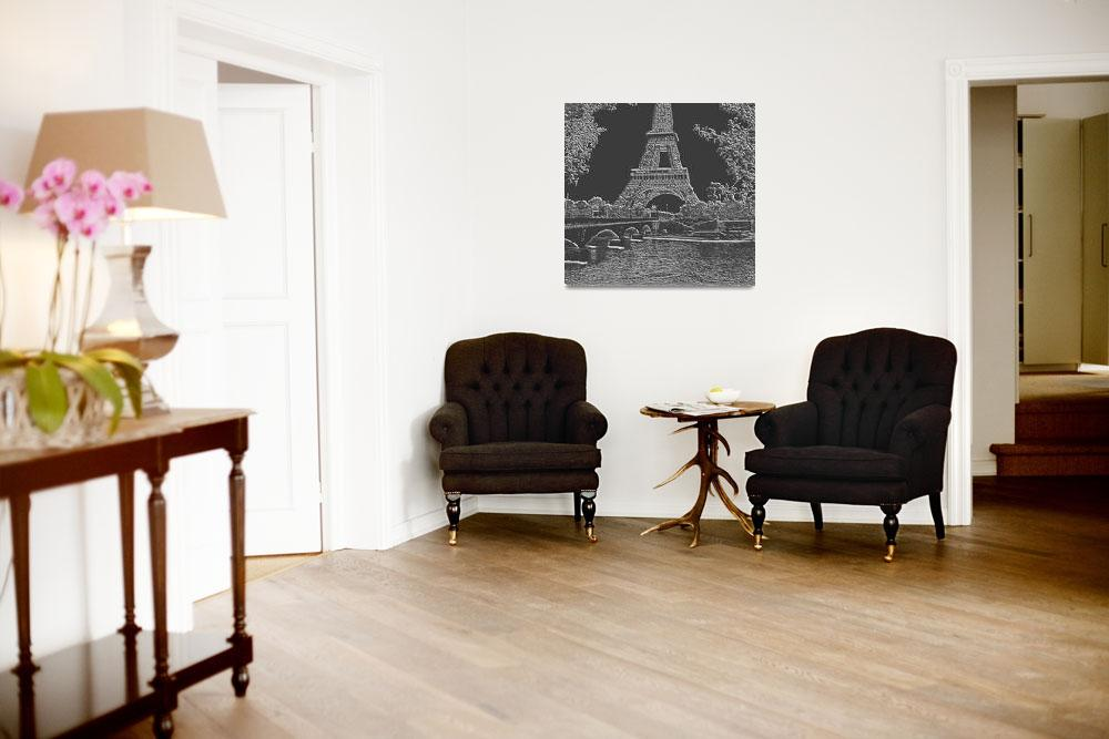 """""""Eiffel Tower Seine River Charcoal Light Grey Neg C""""  (2013) by TheNorthernTerritory"""