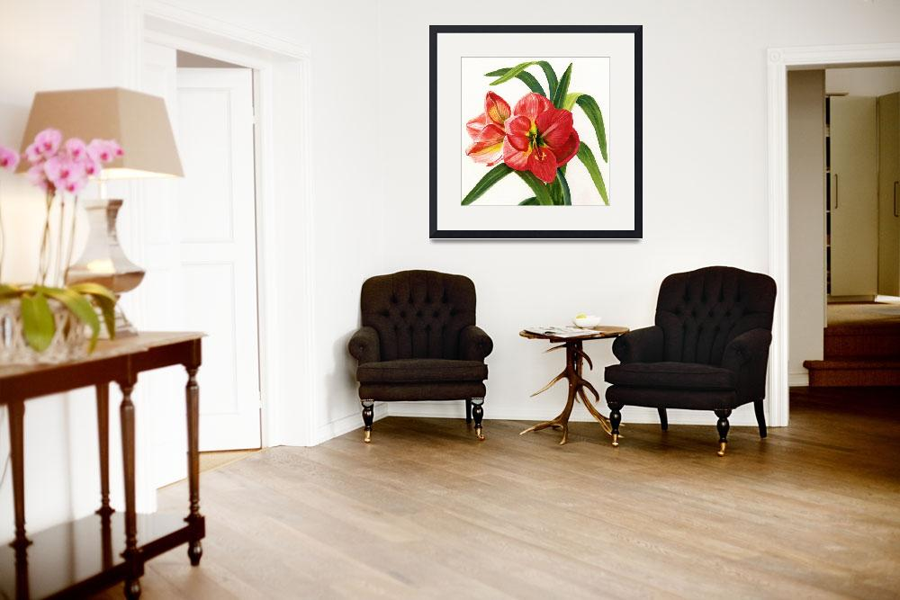 """""""Red Orange Amaryllis Square Design""""  (2012) by Pacific-NW-Watercolors"""