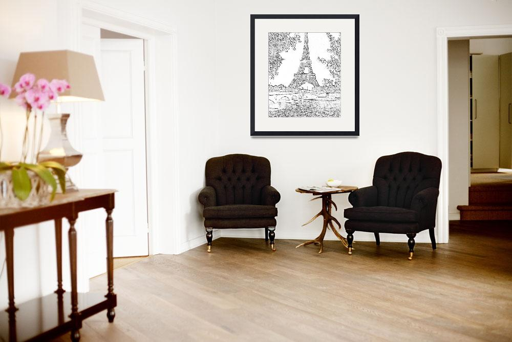 """Eiffel Tower Seine River Charcoal Cropped""  (2013) by TheNorthernTerritory"