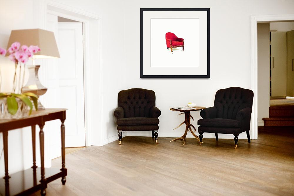 """""""ARMCHAIR upholstered in red velvet mahogany 19th c&quot  by motionage"""