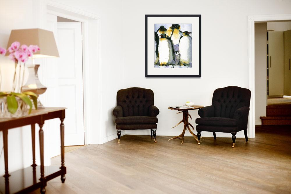 """Just Chillin, Watercolor Painting of Penguins art&quot  by schulmanart"