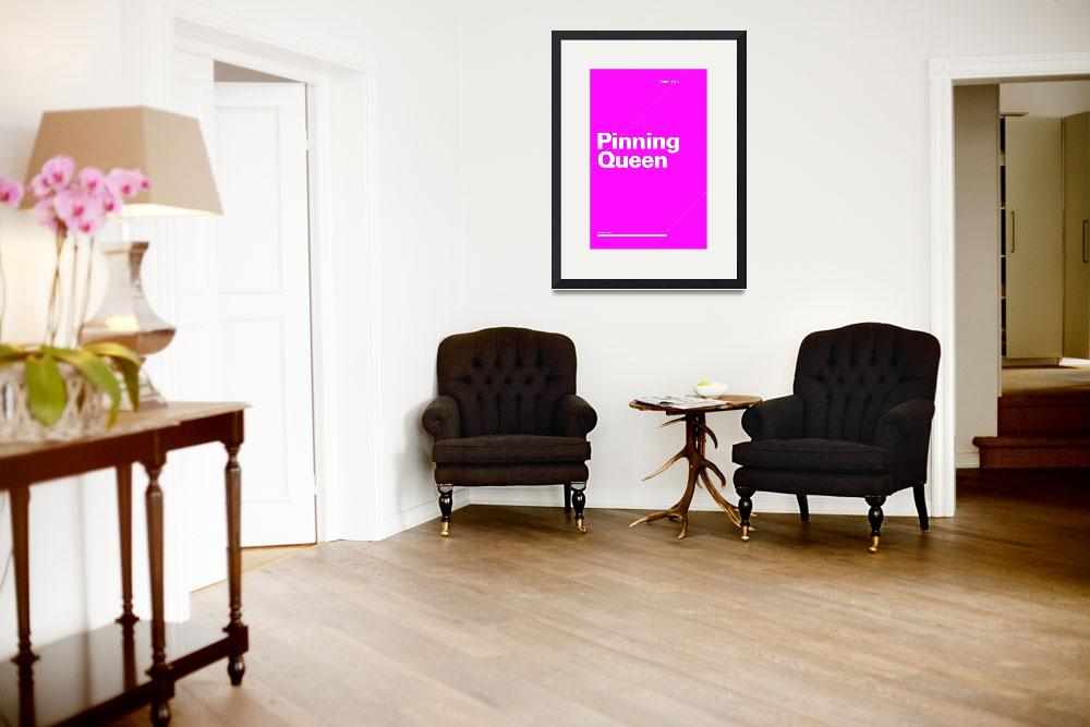 """""""Pinning Queen typographic poster - Pink and White&quot  (2012) by kken"""