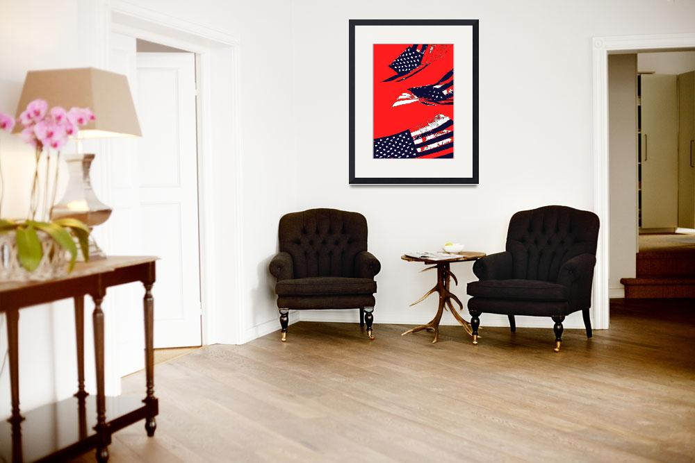 """Dynamic Pop Painting of a waving American Flag""  (2005) by studiodestruct"