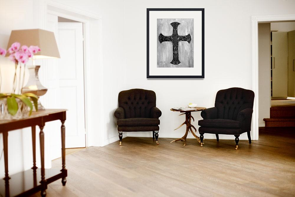 """""""Cross with Calligraphy&quot  by Lenora"""