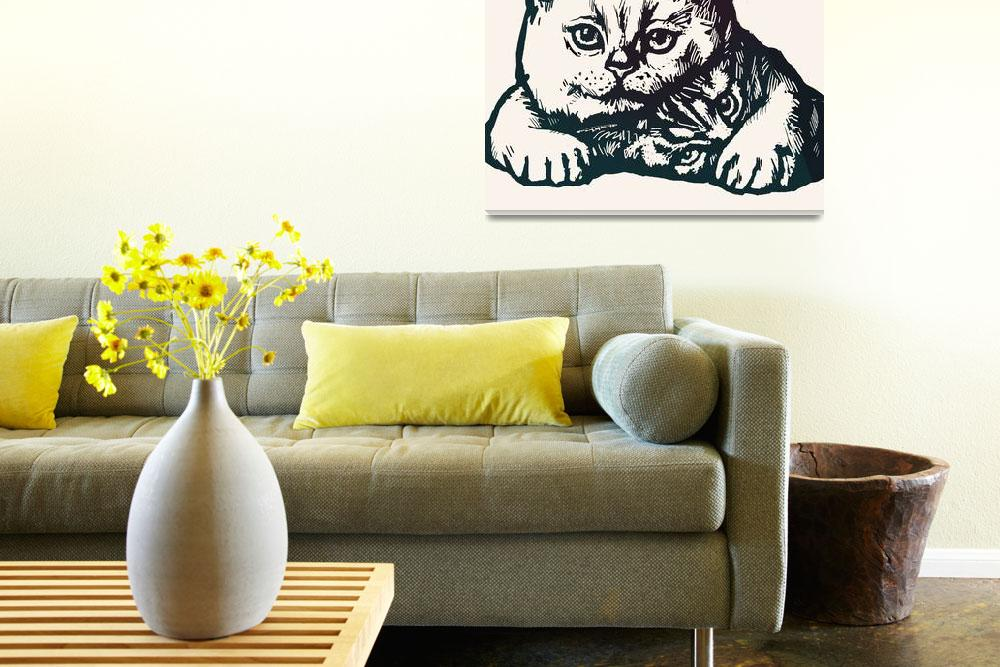 """""""Cat Pop Modern Art Etching Poster""""  (2014) by visualharbour"""