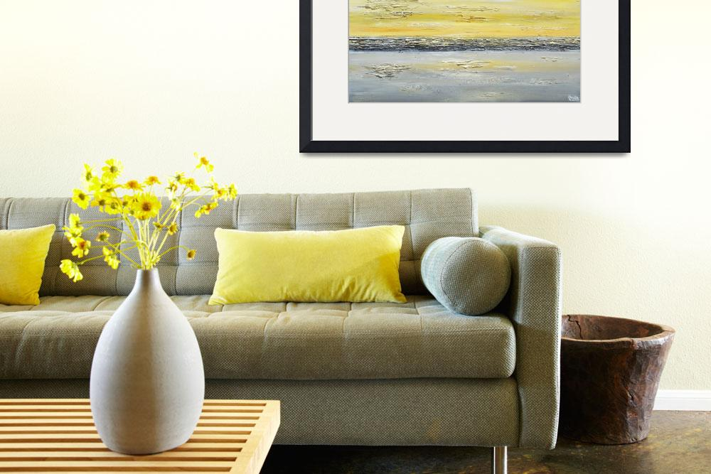 """""Coastal Reflections"" Yellow Grey Abstract&quot  (2014) by ChristineKrainock"