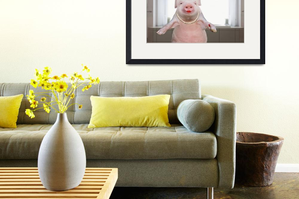 """""""Pig-Wearing-Lipstick&quot  (2013) by johnlund"""
