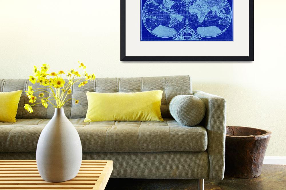 """""""World Map (1691) Blue & Light Blue&quot  by Alleycatshirts"""