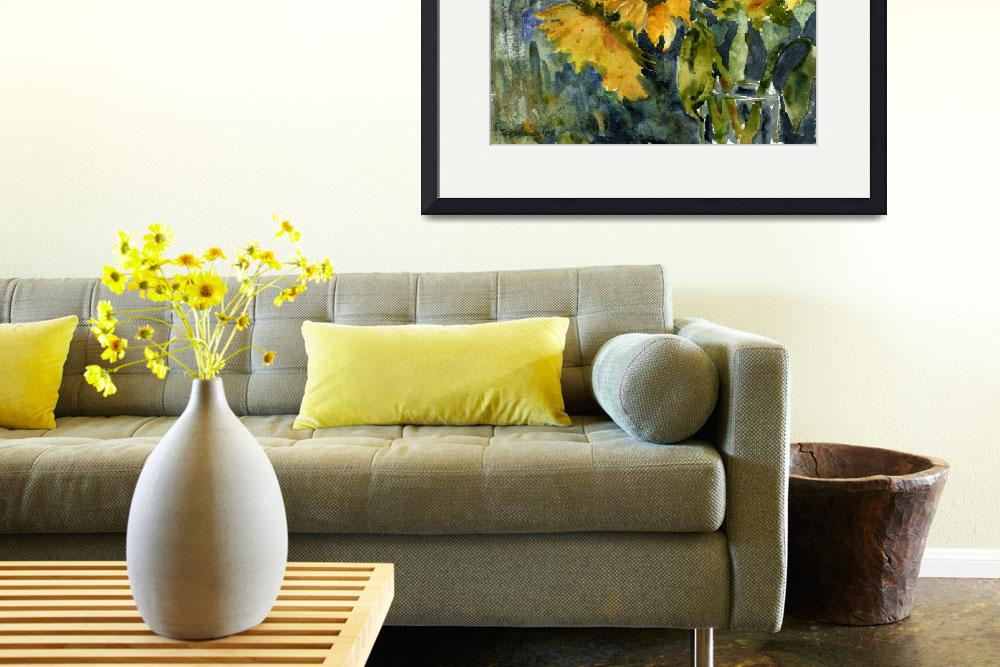 """""""Sunflowers and a Vase&quot  (2008) by schulmanart"""