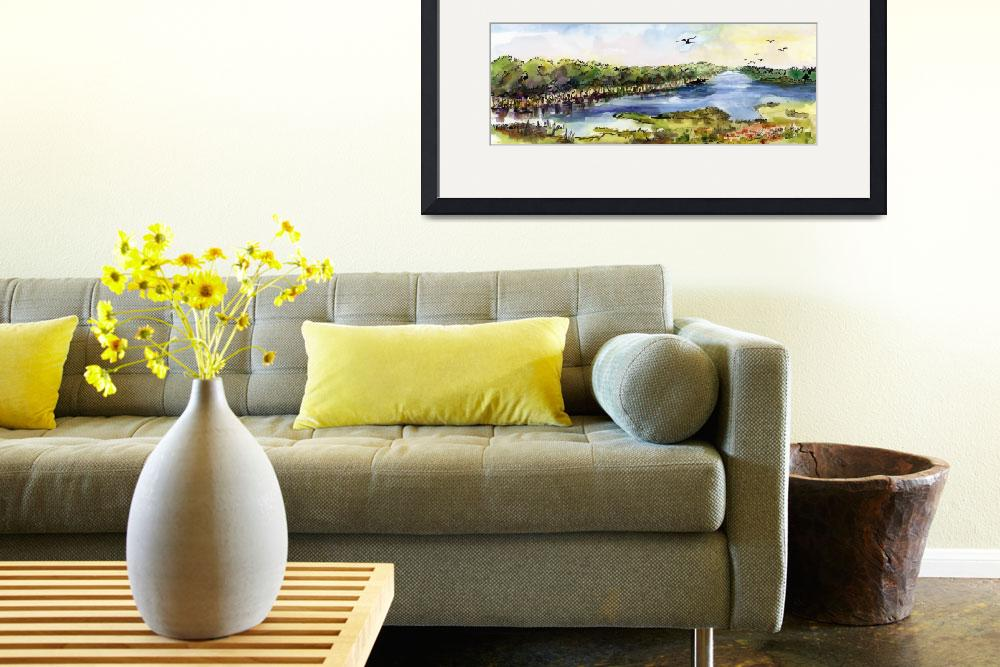"""""""Summer Landscape River Panorama Watercolor&quot  (2017) by GinetteCallaway"""