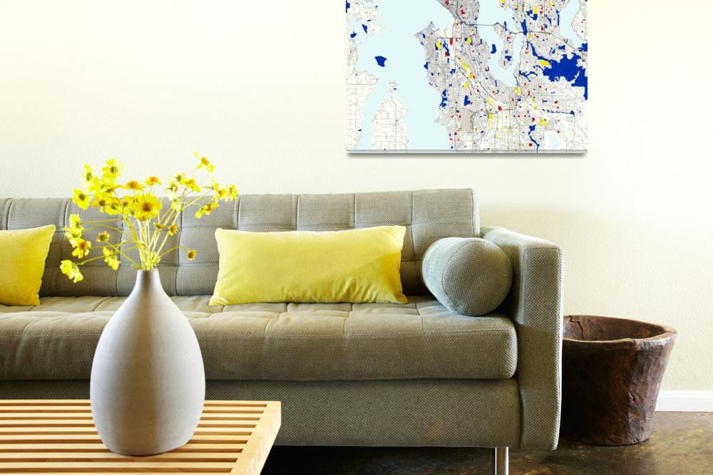 """Seattle Piet Mondrian Style City Street Map Art&quot  by motionage"