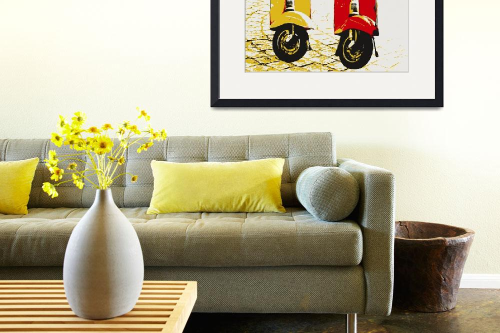 """Vespa Scooters on Cobble Street, Pop Art&quot  (2008) by ModernArtPrints"