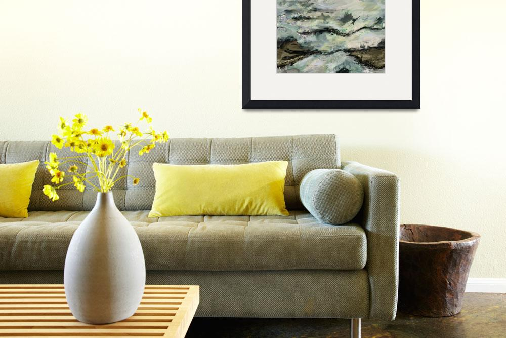 """""""Whitewater Rocks-Abstract Seascape Painting""""  (2012) by Leyland"""
