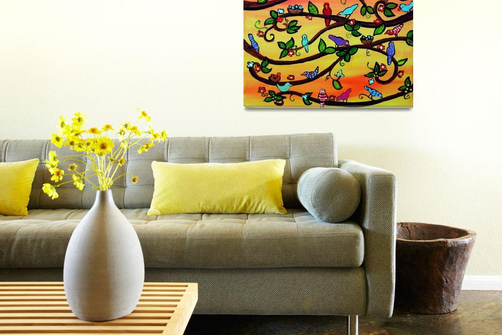 """Birdies and Blossoms on Yellow and Orange""  (2012) by reniebritenbucher"