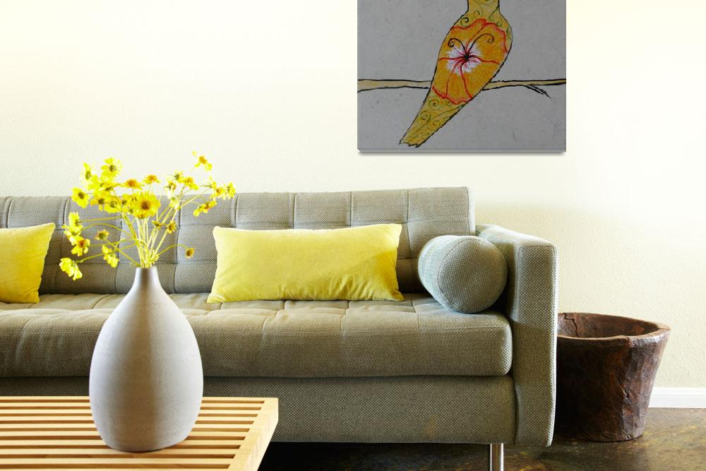 """Yellow song bird""  (2014) by Desray"