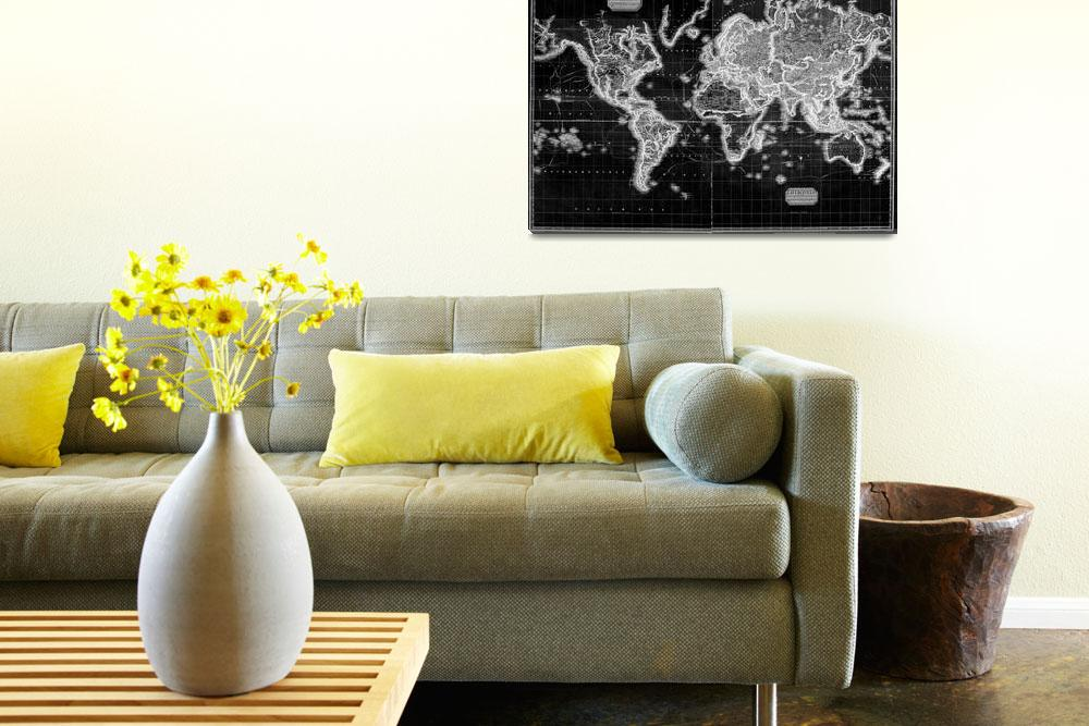 """""""Black and White World Map (1812) Inverse&quot  by Alleycatshirts"""
