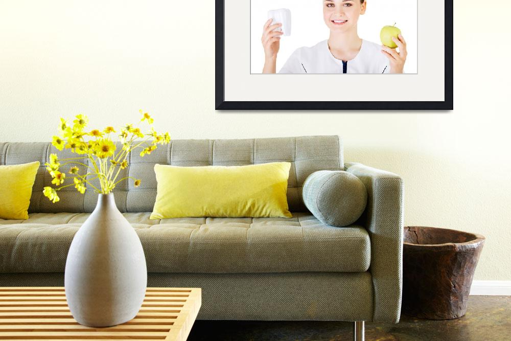 """""""Female dentist with green apple and big tooth. Iso&quot  by Piotr_Marcinski"""
