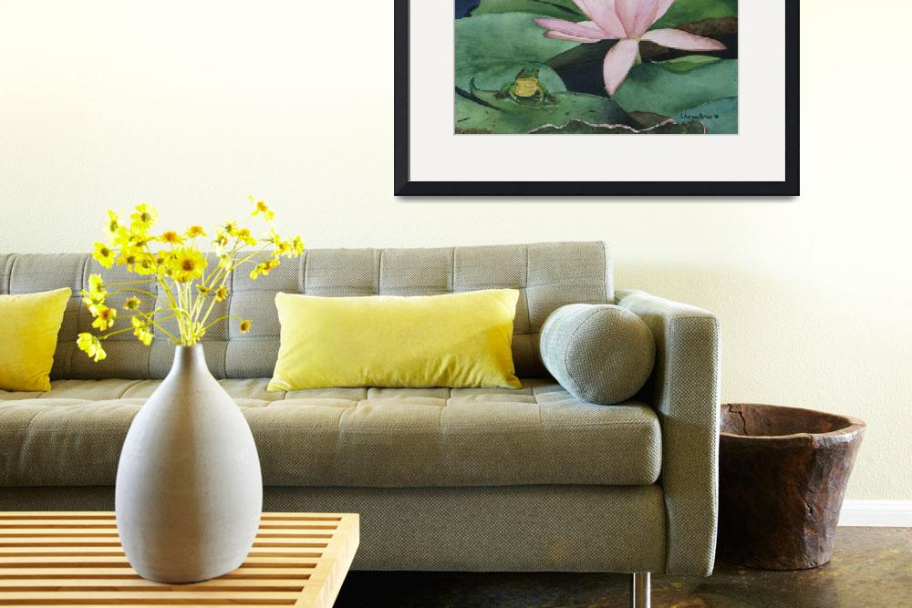 """""""Frog and Water Lily""""  by PaintedPathWatercolors"""
