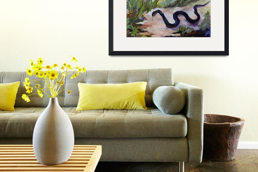 """""""Black Indigo Snake Oil Painting by Ginette""""  (2011) by GinetteCallaway"""