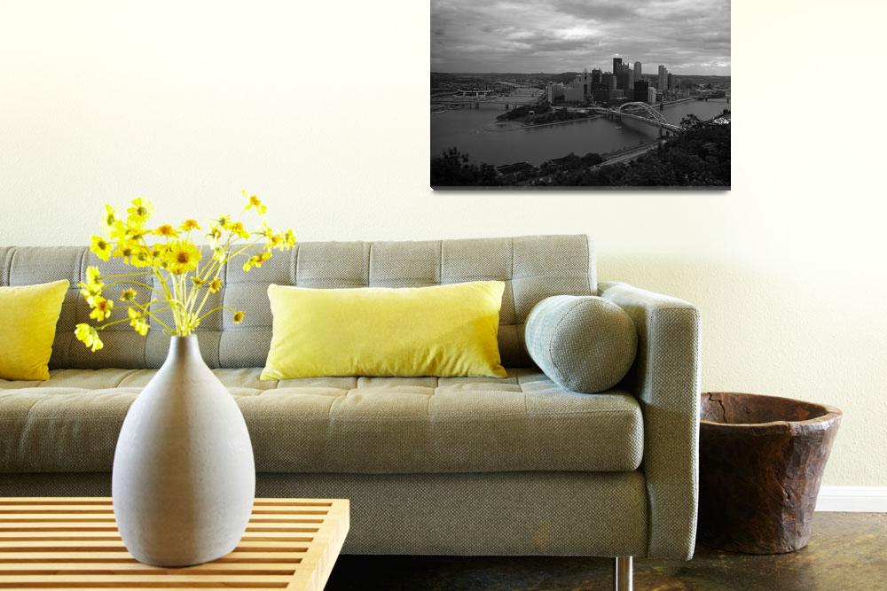 """""""Pittsburgh - View of the Three Rivers""""  (2003) by Ffooter"""