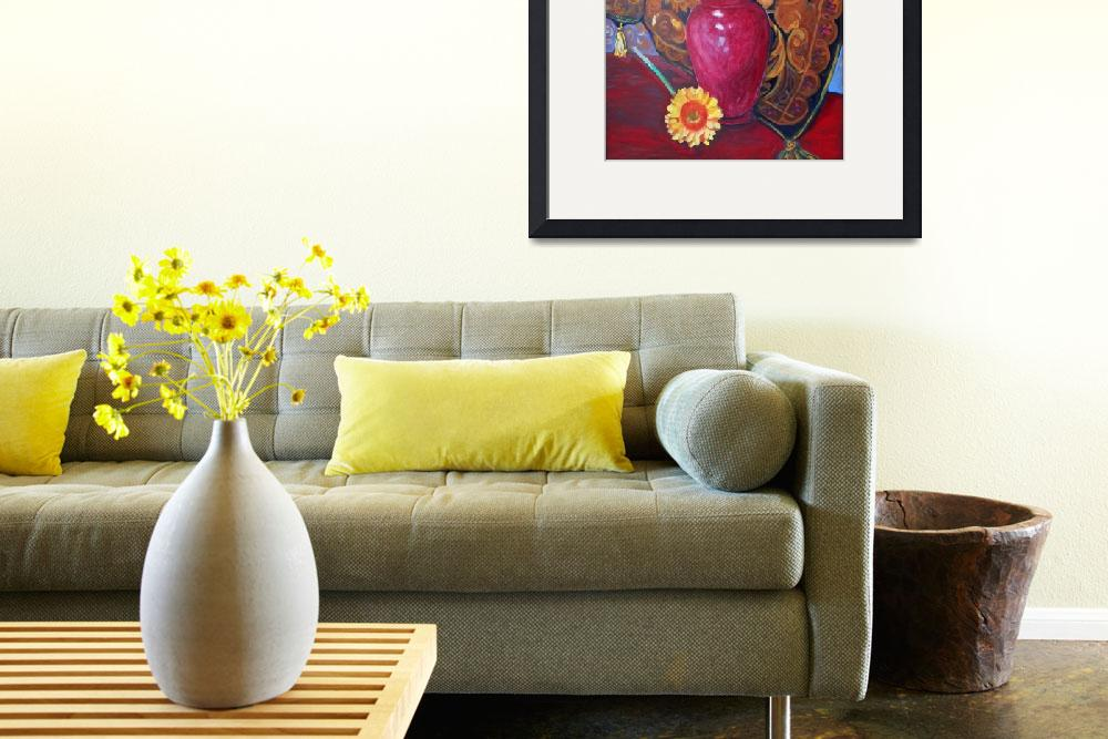 """Sunflowers in a Red Vase&quot  (2013) by RDRiccoboni"