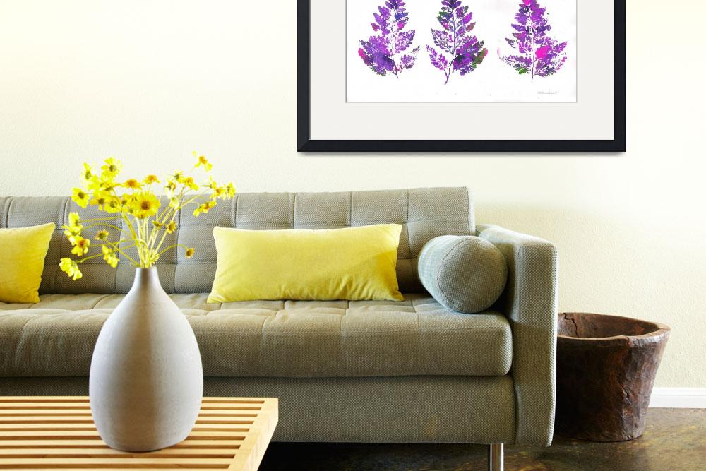 """""""Purple Fern Leaves Abstract Triptych&quot  (2007) by RDRiccoboni"""