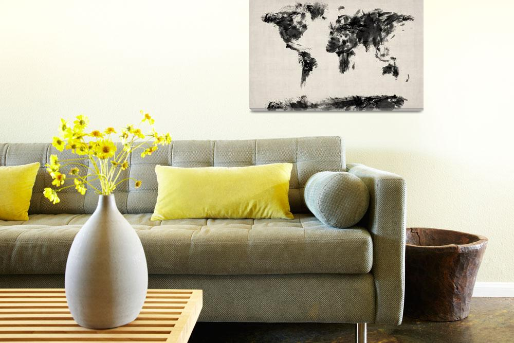 """Map of the World Map Abstract&quot  (2012) by ModernArtPrints"