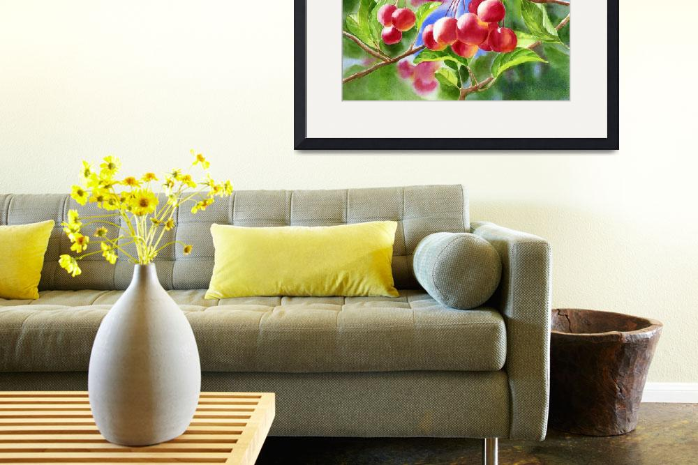 """""""Red Crab Apples with Background""""  (2013) by Pacific-NW-Watercolors"""
