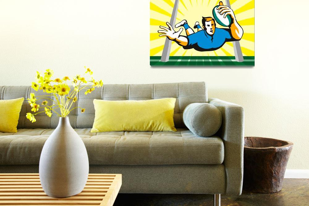 """""""Rugby Player Scoring Try Retro""""  (2013) by patrimonio"""