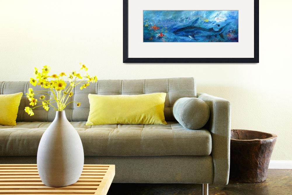 """""""Abstract Marine Life Shark and Corel Reef Fish&quot  (2012) by GinetteCallaway"""