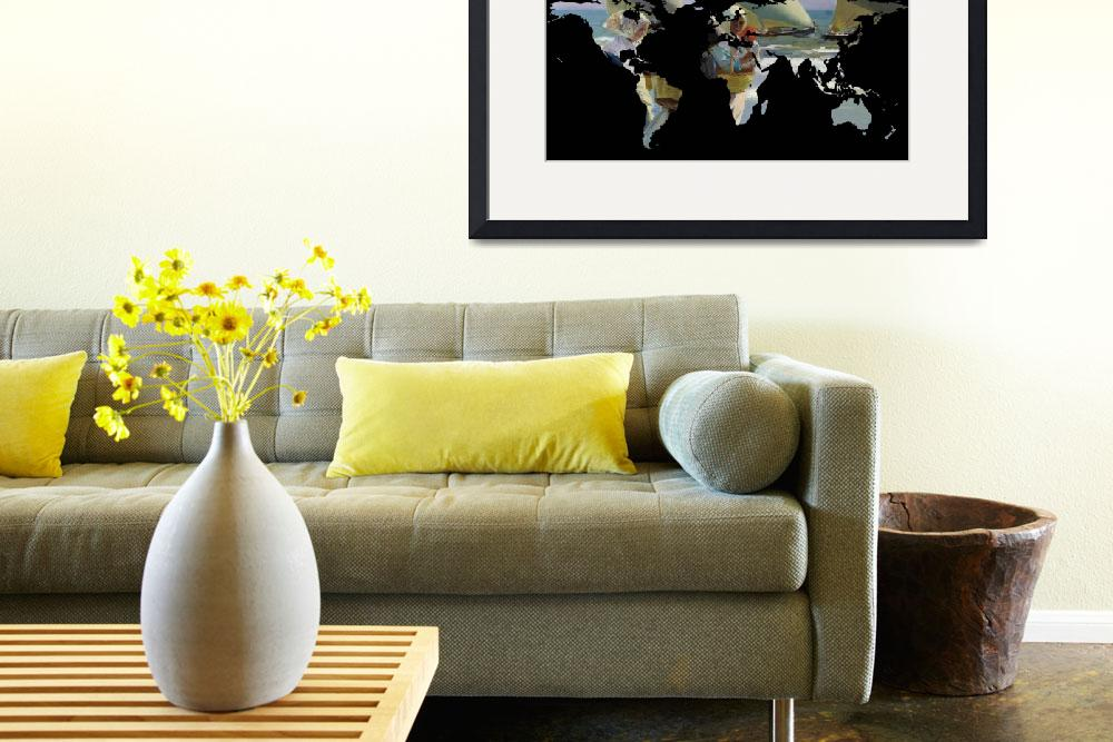 """""""World Map Silhouette - Women and Sailboats&quot  by Alleycatshirts"""