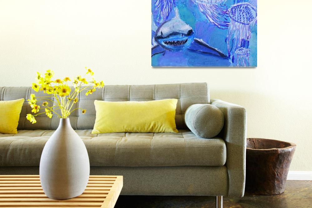 """""""Shark and Jellyfish Painting&quot  (2013) by SharpArt"""