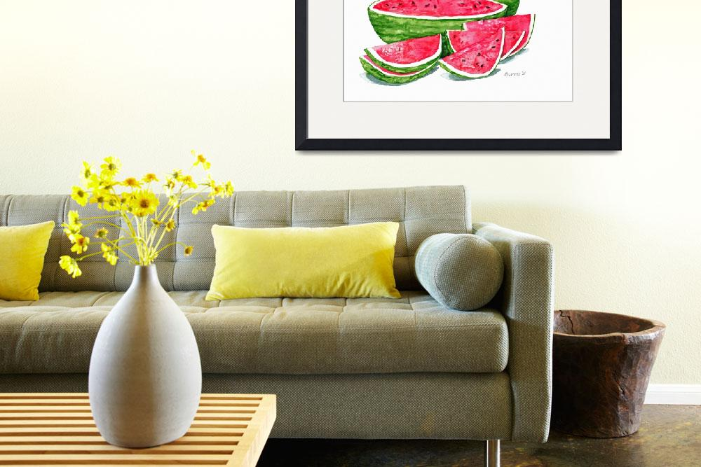 """""""More Watermelon Please""""  (2011) by ClotheslineArt"""