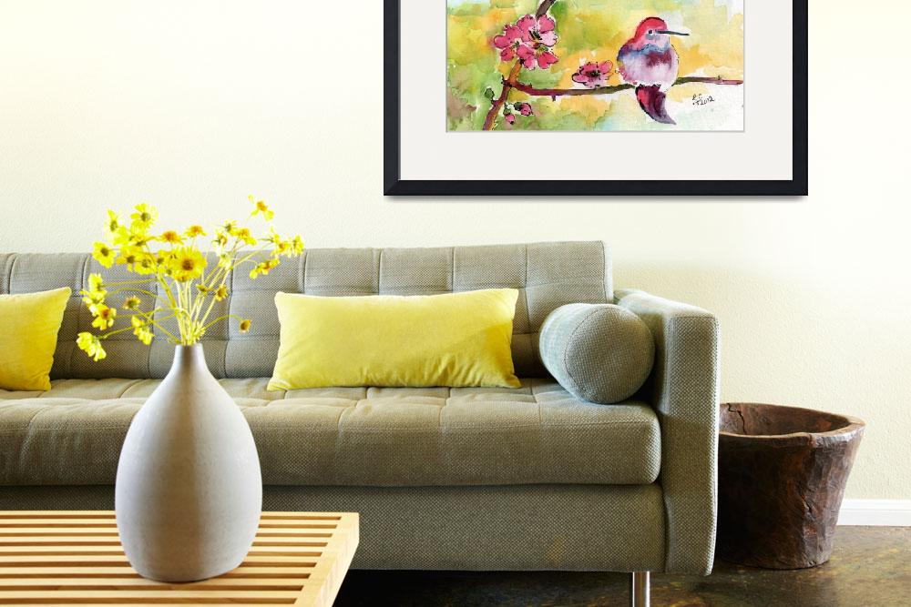 """""""Hummingbirds & Pink Blossoms Watercolor Ginette&quot  (2012) by GinetteCallaway"""