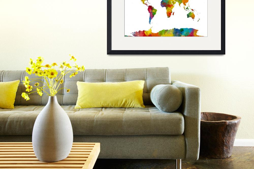 """""""Map of the World Map Watercolor&quot  (2015) by ModernArtPrints"""