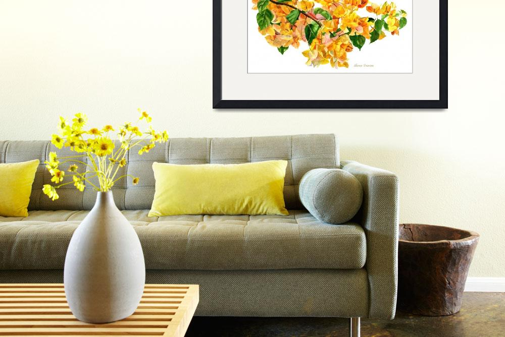 """""""Golden Bougainvillea with White Background&quot  (2015) by Pacific-NW-Watercolors"""