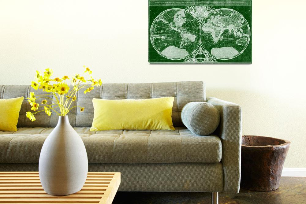 """""""World Map (1691) Green & White""""  by Alleycatshirts"""