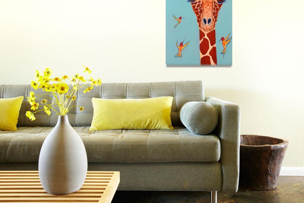 """Giraffe with hummingbirds&quot  (2012) by paulhood"