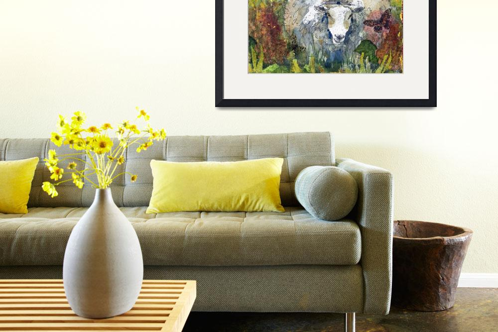 """Peaceful Pasture, Sheep Print&quot  (2012) by schulmanart"