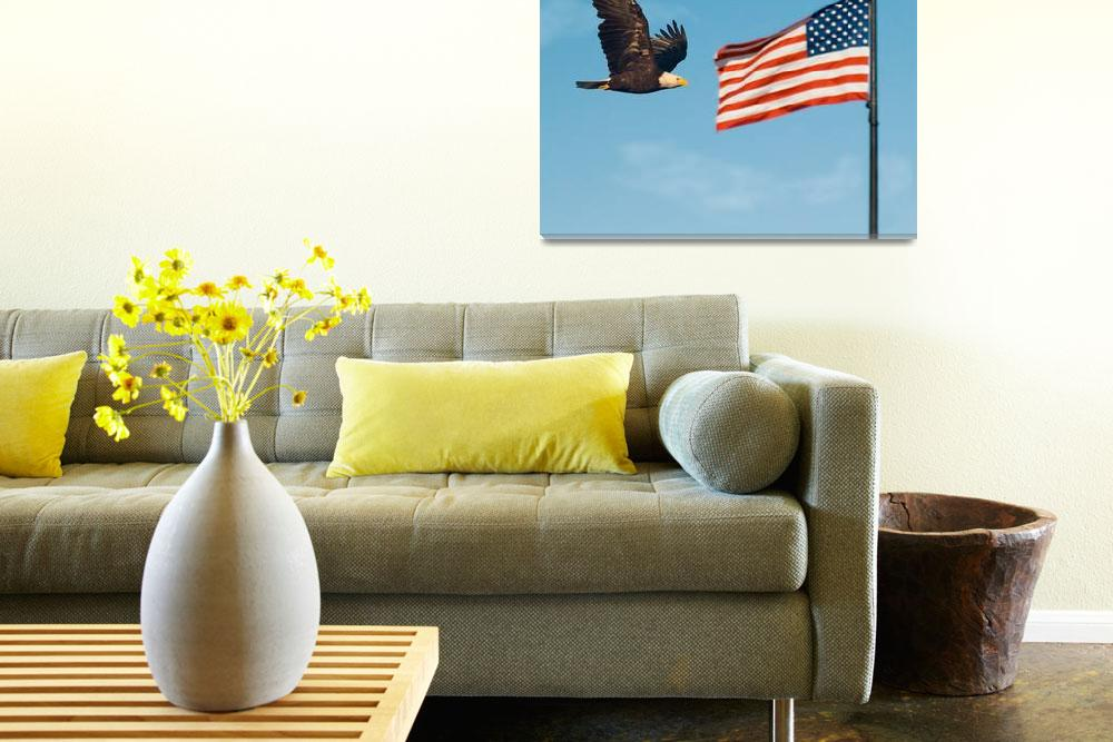 """""""Bald Eagle and American Flag&quot  by PLudwig"""