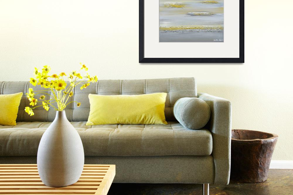 """""Summer Reflections"" Yellow Grey Abstract"" (2014) by ChristineKrainock"