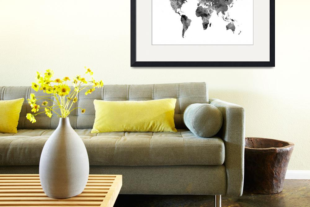 """""""Map of the World Map Watercolor&quot  (2016) by ModernArtPrints"""