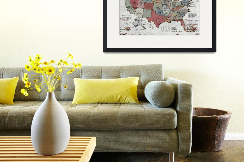 """""""24x36 new The United States of America Map II&quot  by Aneri"""