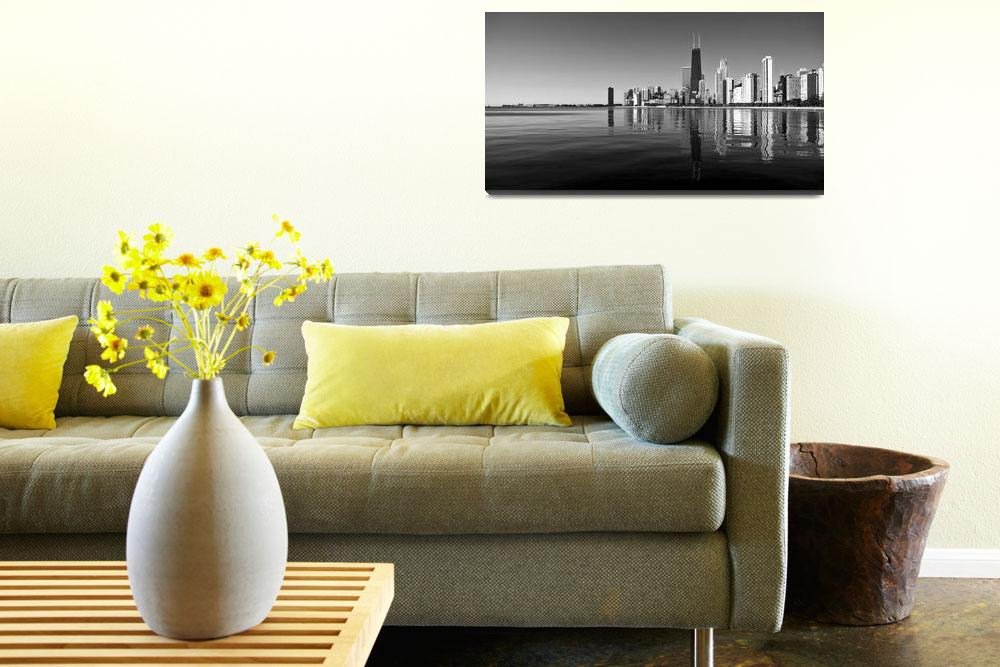 """Chicago Skyline Panorama B&W""  by JosephMLunetto"