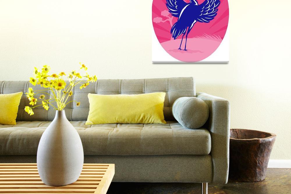"""""""Crane flapping wings pine tree sunburst""""  (2013) by patrimonio"""