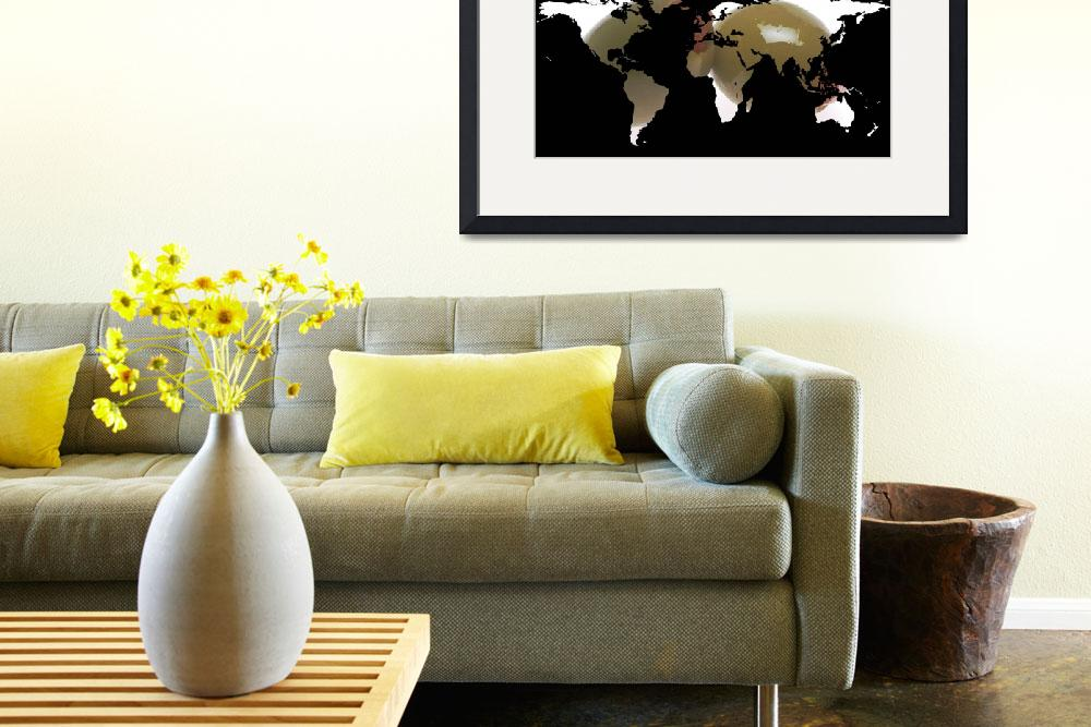 """World Map Silhouette - Martini Olives&quot  by Alleycatshirts"