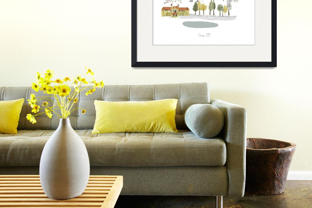"""""""Denver Modern Cityscape Illustration&quot  by AlbieDesigns"""