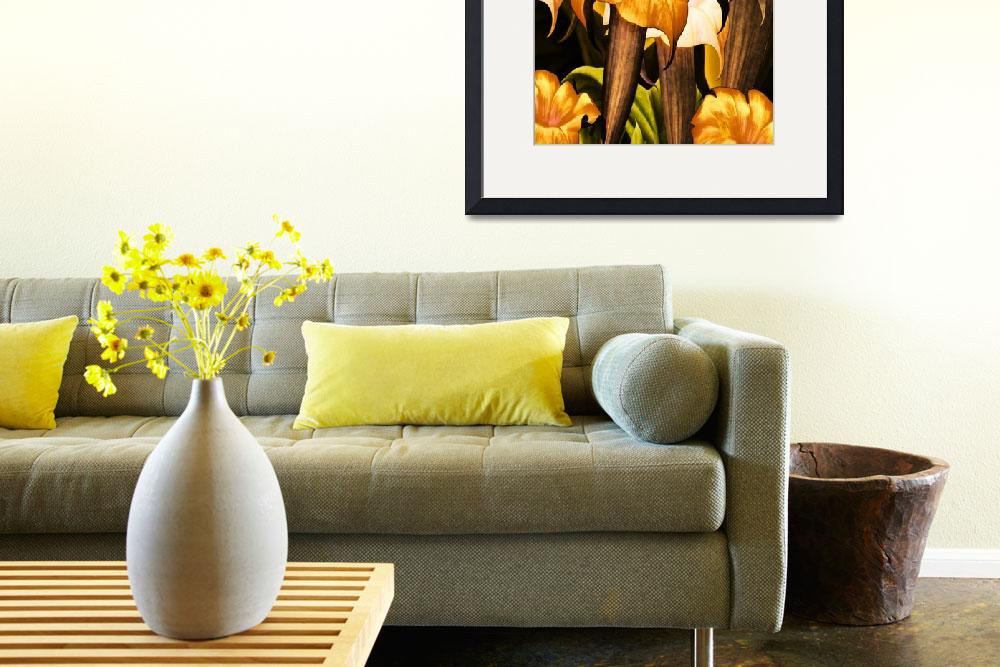"""""""Posters Gold Yellow Floral 2a&quot  (2010) by shanmaree"""