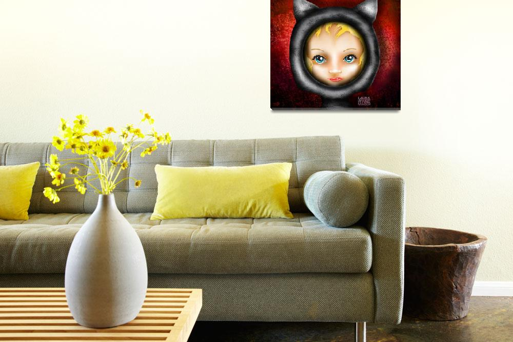 """""""Whimsical Cat Girl Red&quot  (2014) by llo"""