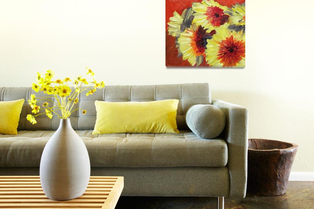 """Yellow and Red Gerberas""  (2013) by lisampaynestudio"